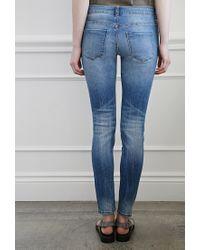 Forever 21 - Blue Whiskered Skinny Jeans - Lyst