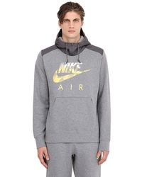 Nike | Gray Logo Printed Cotton Blend Sweatshirt for Men | Lyst