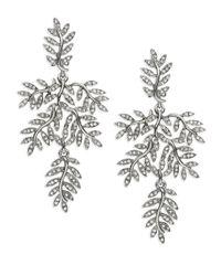 Oscar de la Renta | Metallic Crystal Leaf Clip-on Drop Earrings | Lyst