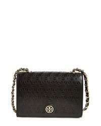 Tory Burch - Black 'Robinson' Perforated Leather Shoulder Bag - Lyst
