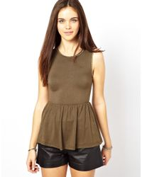 Glamorous | Natural Peplum Top With Chain | Lyst