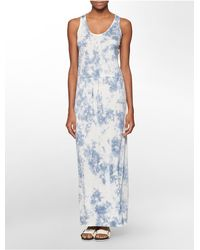 Calvin Klein | Blue Jeans Tie Dye Sleeveless Maxi Dress | Lyst