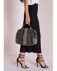 Missguided - Gray Mesh Insert Bowler Bag Grey - Lyst