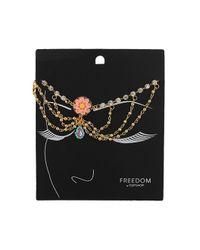 TOPSHOP - Orange Pink Flower Drape Head Chain - Lyst