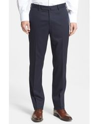 Incotex | Blue 'benson' Flat Front Trousers for Men | Lyst