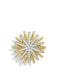 David Yurman - Yellow Starburst Ring With Diamonds In Gold - Lyst