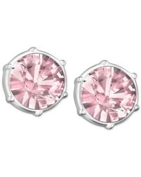 Swarovski - Pink Rhodium-plated Light Amethyst Crystal Stud Earrings - Lyst
