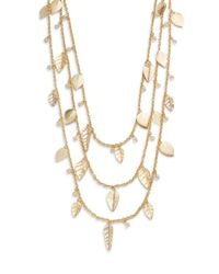 Saks Fifth Avenue - Metallic Three-Layer Leaf Charm Necklace - Lyst