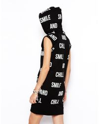 ASOS - Black Hoodie Dress in Smile and Chill Print - Lyst