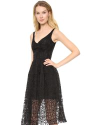 Nicholas - Lace Midi Ball Dress - Black - Lyst