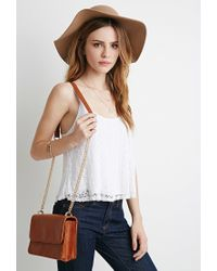 Forever 21 - Brown Structured Flap-Top Crossbody - Lyst