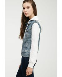 Forever 21 | Natural Hooded Denim Jacket | Lyst