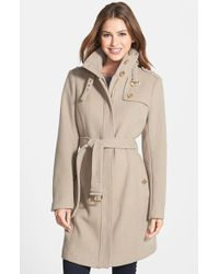 MICHAEL Michael Kors | Natural Stand Collar Wool Blend Trench Coat | Lyst