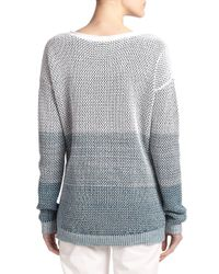 Vince - Gray Ombre Cotton Knit Sweater - Lyst