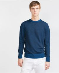 Zara | Blue Round Neck Sweater for Men | Lyst