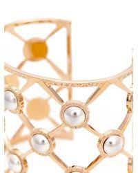 Rebecca | Metallic 'elizabeth' Pearls Cuff | Lyst