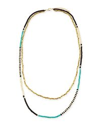 Panacea - Blue Beaded Double-Strand Necklace - Lyst