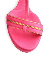 Sw1 - Pink Levity Suede Wedge Sandals - Lyst