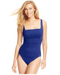 Calvin Klein | Blue Ruched-panel One-piece Swimsuit | Lyst