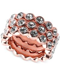 Givenchy | Pink Rose Gold-plated Crystal Stack Ring | Lyst