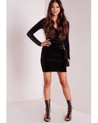 Missguided - Velvet Wrap Over Bodycon Dress Black - Lyst