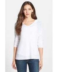 Eileen Fisher - White Organic Linen Hooded V-neck Top - Lyst
