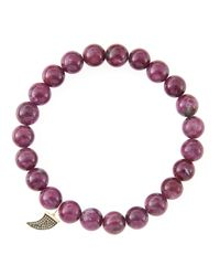 Sydney Evan | 8Mm Natural Ruby Beaded Bracelet With 14K Gold/Diamond Small Horn Charm (Made To Order) | Lyst