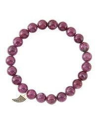 Sydney Evan - 8Mm Natural Ruby Beaded Bracelet With 14K Gold/Diamond Small Horn Charm (Made To Order) - Lyst