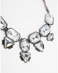 Lipsy | Metallic Multi Statement Stone Necklace With Ribbon | Lyst