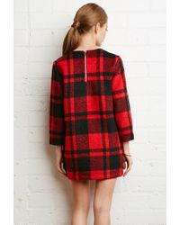 Forever 21 | Red Boxy Plaid Sweater Dress | Lyst