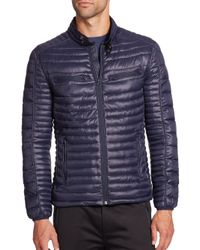Saks Fifth Avenue | Blue Quilted Puffer Coat for Men | Lyst