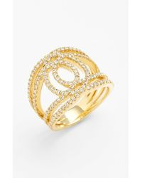 Bony Levy - Metallic 'double Interlock' Diamond Cocktail Ring - Lyst