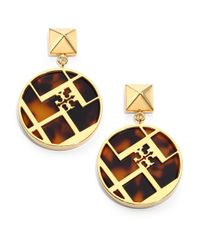 Tory Burch | Metallic Aislin Tortoise-print Chevron Fret Drop Earrings | Lyst