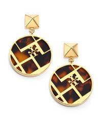 Tory Burch - Metallic Aislin Tortoise-print Chevron Fret Drop Earrings - Lyst