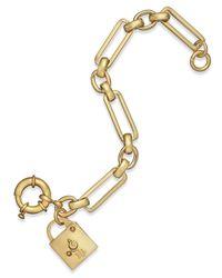 Lauren by Ralph Lauren - Metallic Gold-Tone Lock Charm Link Bracelet - Lyst