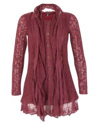 Izabel London | Purple Lace Button Up Top | Lyst
