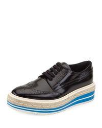 Prada | Black Roundtoe Penny Loafers | Lyst