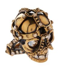 Alexander McQueen | Metallic Harness Skull Ring | Lyst