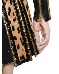 Balmain - Multicolor Nappa Leather Ponyskin Dress - Lyst