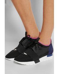 Balenciaga | Black Runner Race Mesh And Neoprene Sneakers | Lyst