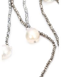 Mela - Gray Pearl Lariat Necklace - Lyst