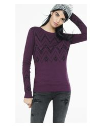 Express | Purple Southwestern Print Fitted Sweater | Lyst