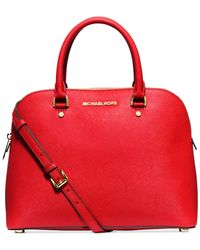 Michael Kors | Red Michael Cindy Large Dome Satchel | Lyst