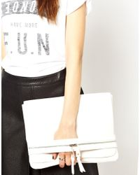 ASOS | White Casual Clutch Bag with Front Strap and Chunky Zips | Lyst