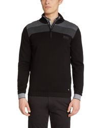 BOSS Green | Black Zip-neck Sweater 'zelchior Pro' In Water-repellent Cotton Blend for Men | Lyst