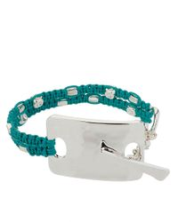Robert Lee Morris - Metallic Turquoise Interwoven Bracelet with Silvertone Rectangular Pendant - Lyst