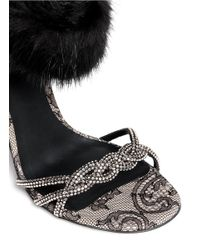 Rene Caovilla - Black Fur Trim Crystal Strap Sandals - Lyst