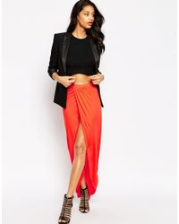 ASOS - Red Wrap Maxi Skirt In Jersey - Lyst