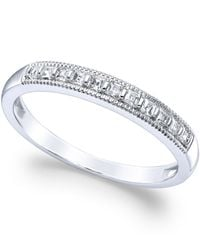 Macy's | Diamond Milgrain Ring In 14k White Gold (1/4 Ct. T.w.) | Lyst