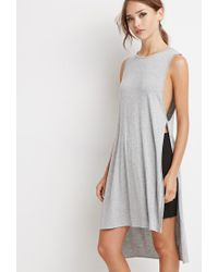 Forever 21 - Gray High-slit Longline Top - Lyst